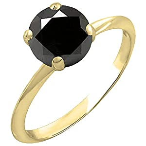 3.00 Carat (ctw) 14K Yellow Gold Black Diamond Bridal Engagement Solitaire Ring 3 CT (Size 7)