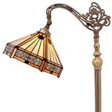 Tiffany Style Reading Floor Lamp Yellow Hexagon Stained Glass Lampshade in 64 Inch Tall Antique Arched Base for Living Room Bedroom Bedside Desk Coffee Table Bookcase S011 WERFACTORY