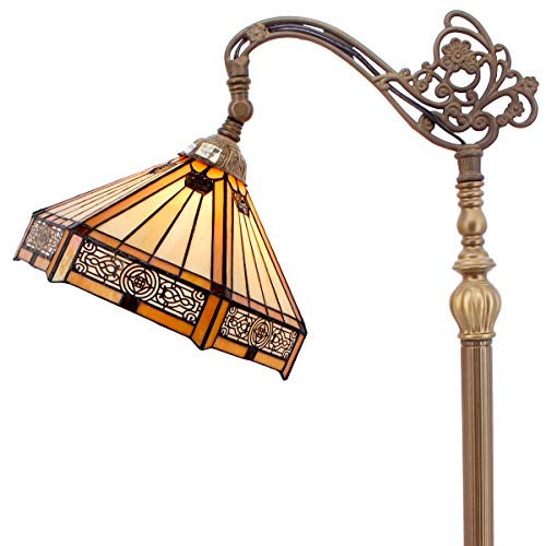 Tiffany Style Reading Floor Lamp Yellow Hexagon Stained Glass Lampshade in 64 Inch Tall Antique Arched Base for Living Room Bedroom Bedside Desk Coffee Table Bookcase S011 - Light Yellow Glass Shade