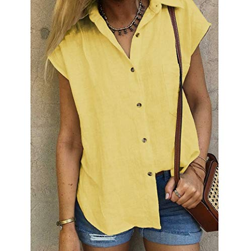 Women Solid Mandarin Collar Button Down Short Sleeve T-Shirts Loose Blouse Tops with Pocket JHKUNO Yellow ()