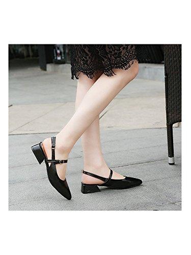 Slingbacks Black Shoes OCHENTA Square Pointed Platform Wedding Heel Low Woman Toe n0HzSqwv0