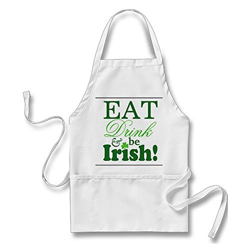 Julyou Eat Drink and Be Irish Celebrate St. Patrick's Day Apron for Women Men, White