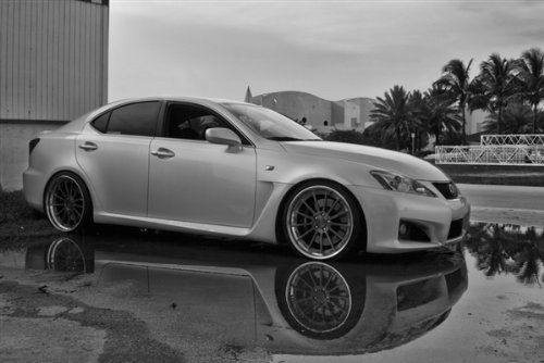 Lexus Isf Is-F Is Right Side Black and White on Hre Wheels Hd Poster