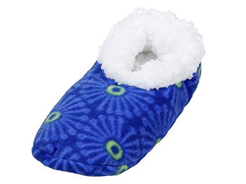 Alsino Damen Snoozies Hausschuhe plüsch über 15 MODELLE Snoozies ANTI RUTSCH ABS Kuschel Puschen Winter kuschelig weich bunt Damenhausschuhe 02/6009 blau; 38-39