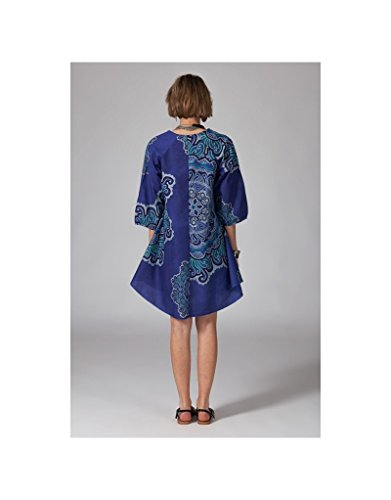 Modeincoton - Larga túnica algodón 3/4 manga cuello uterino con enlace Modeincoton TUL269 acoplable Multicolor