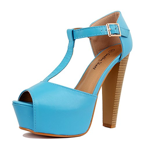 Guilty Heart Womens Peep Toe High Heel Stiletto T-Strap Platform Sexy Sandals Heeled Sandals, Blue PU, 7.5 B(M) US (Blue Platforms)