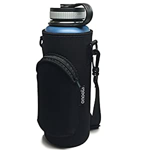 Onoola 40oz Pocket Carrier for Hydro Flask Type Bottles with Adjustable Straps (Neoprene Sleeve / Pouch / Bag) (Black)