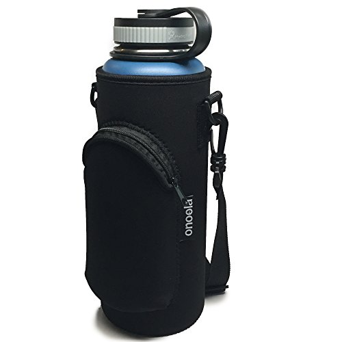 Onoola 40oz Pocket Carrier for Hydro Flask Type Bottles with Adjustable Straps (Neoprene Sleeve/Pouch/Bag) (Black) by Onoola