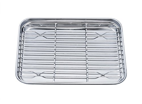 Pan Tray with Cooling Rack, Stainless Steel Toaster Ovenware broiler Pan, Compact 8''x10''x1'', Healthy & Non Toxic, Rust Free & Easy Clean - Dishwasher Safe ()