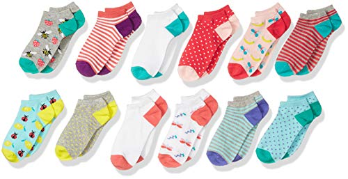Spotted Zebra Kids' 12-Pack Low Cut Socks, Fruit, Small (10-13)