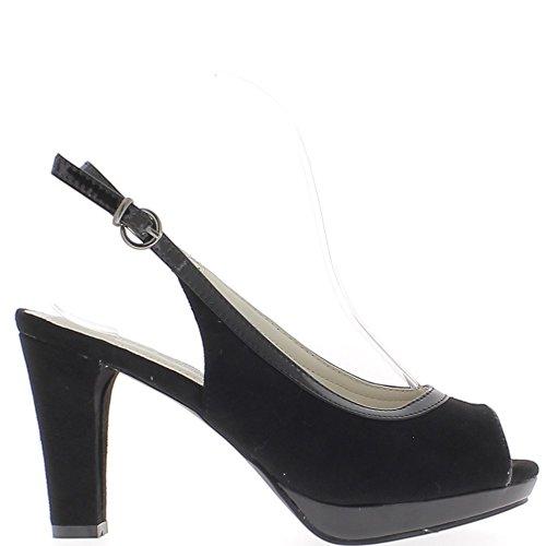 Sandali spessore 9,5 cm aspetto camoscio nero con tacco bordatura e piattaforma oro