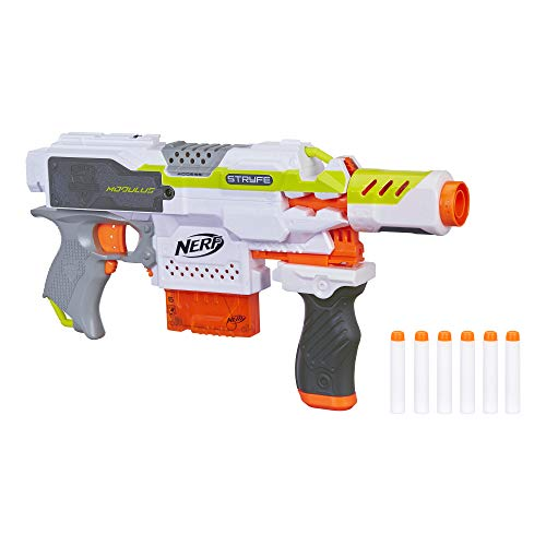 (NERF Modulus Motorized Toy Blaster with Drop Grip, Barrel Extension, 6-Dart Clip, 6 Official Darts for Kids, Teens, & Adults (Amazon Exclusive))
