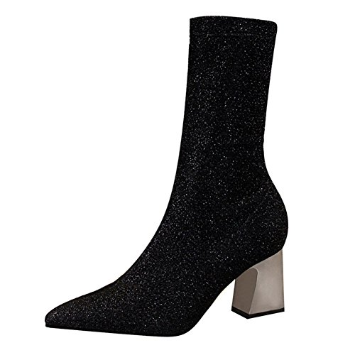Mid High Boots For Women Ladies Fashion Sequins Shoes Comfortable Warm Block Heel Slip On Casual Boots For Party Club Black