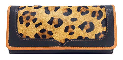 - LW-1802 Taj Leopard Ladies Wallet|11 card slots|1 card window|4 slide pockets|1 zip compartment pocket| 1 back silver metal zip pocket | cowhide black leather, Cowhide tan leather & cowhide leopard