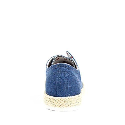 Zapato de lona. Detalle yute en la suela. Cordones beige. Interior forrado con motivo. Jean