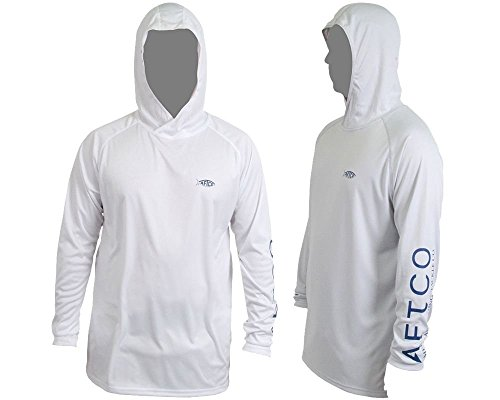 AFTCO Samurai Hooded Performance Long Sleeve Shirt - White - XL