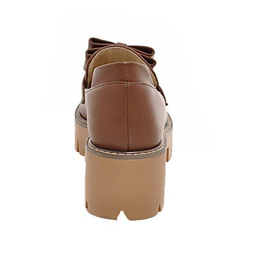 Medio Marrone Luccichio GMMDB006837 Tirare Tacco Donna Solid Ballet Scuro Flats AgooLar aCwqRI
