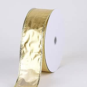 Christmas Ribbon 2-1/2 Inch x 50 Yards, Metallic Gold