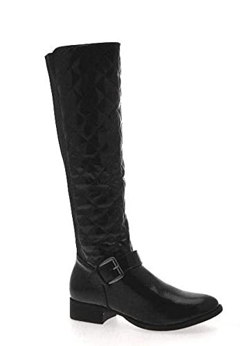 f198cdcc6a1 NEW WOMENS QUILTED STRETCH ELASTICATED WIDE CALF FLAT HEEL BIKER RIDING  BOOTS KNEE HIGH LADIES BLACK PATENT SIZE 4  Amazon.co.uk  Shoes   Bags