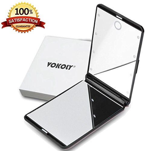 VOKOLY LED Lighted Makeup Mirror with 8 Dimmable Led Lights, Touch Switch Travel Mirror, Compact Mirror (Touch Compact Mirrors)