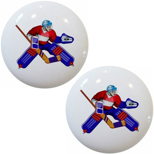 Set of 2 Hockey Goalie Player Ceramic Cabinet Drawer Pull Knobs