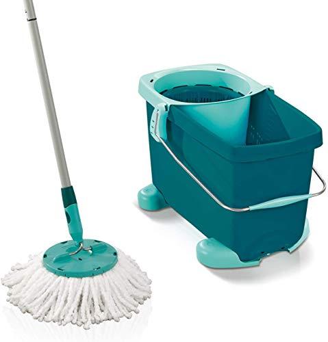 Leifheit Set Clean Twist Mop avec chariot à roulettes, seau et balai essoreur faciles d'utilisation, balai serpillère mécanisme d'essorage intégré