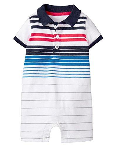 Gymboree Baby Boys Short Sleeve Button Polo 1-Piece, White Stripe, 6-12 Mo from Gymboree