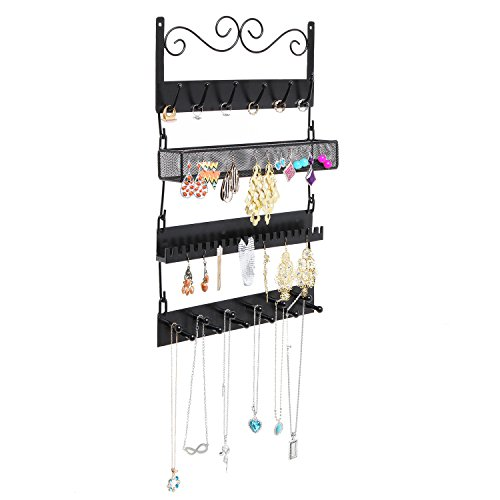 MyGift Wall Mounted Black Metal 18 Hook Hanging Jewelry, Earrings, Rings, Necklaces, Bracelets Organizer Rack