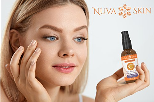 41WoIL15IoL - Nuva Skin Vitamin C Serum for Face and Eyes w/Hyaluronic Acid & Liquid Vitamin E - Natural Anti Aging, Anti Wrinkle Facial Treatment - Antioxidant Moisturizer for Acne, Scars & Even Skin Tone