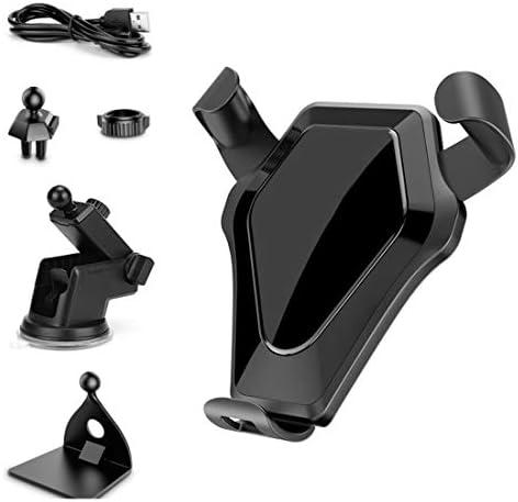 YIKETING ブルヘッド車ワイヤレス充電器重力センサー電話ホルダー10W高速充電携帯電話車ワイヤレス充電器電話マウント (色 : 黒)