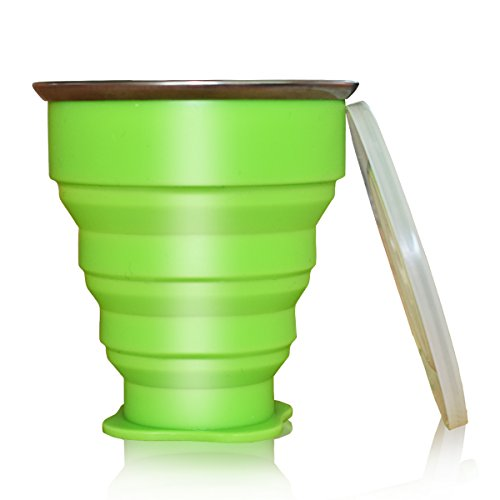 UPC 695937089992, HTX COLLAPSIBLE TRAVEL CUP, the Genuine 10oz Drinking Mug with Lid, Certified BPA Free Silicone, Water, Coffee, Tea & Snacks for Hiking, Camping, Picnic & Commuting to Work (green)