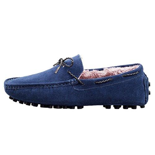 Cuero Forrado de Azul YiJee Mocasines de Sintético Conducción Zapatos Casual Hombres Calentar qRZwzf7