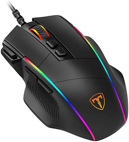 PICTEK Ergonomic Wired Gaming Mouse, 8 Programmable Buttons , 5 Levels Adjustable DPI up to 8000, Wired Computer Gaming Mice with 7 RGB Backlight Modes for PC, Laptop, MacBook