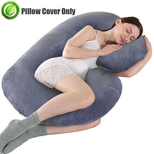 KWLET Pregnancy Pillow Cover/C Shaped Pillow Cover/Pregnancy Pillow Case/Maternity Pillow Case/Pillowcase with Double Zippers Removable Velvet Cover 57x30 Inch for Pregnancy Pillow Gray