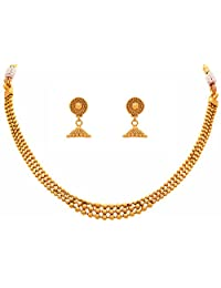 JFL - Traditional Ethnic One Gram Gold Plated Gold Beads Designer Necklace Set With Jhumka Earrings for Women & Girls.
