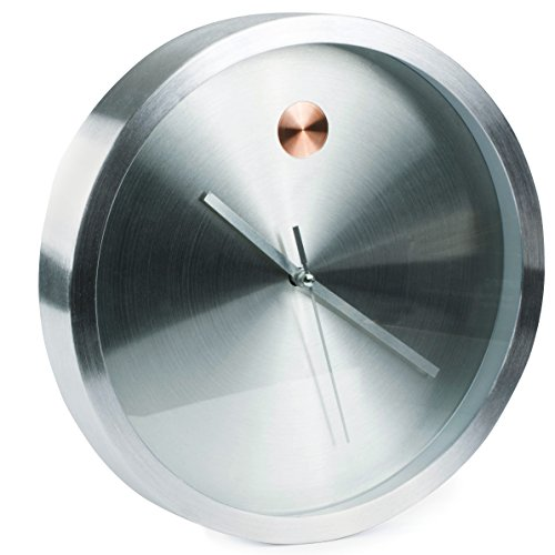 Bernhard Products Wall Clock Silver 10 Inch Luxury Design With Rose.