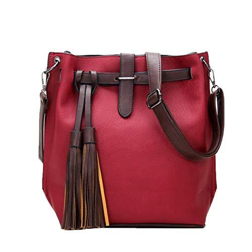 Box Bag Blue Shoulder Ladies Female Handbag Simple G Red Fashion PU Single wine Capacity Large Messenger E PSp5qw