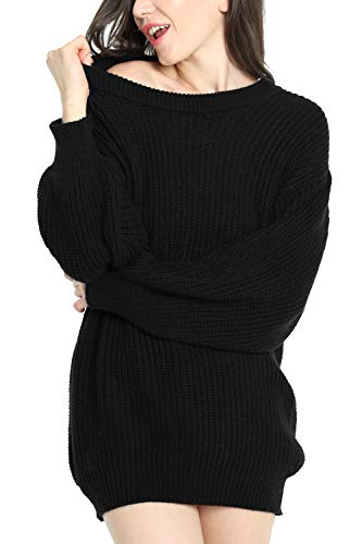 Liny Xin Women's Cashmere Oversized Loose Knitted Crew Neck Long Sleeve Winter Warm Wool Pullover Long Sweater Dresses Tops (Model 2, Black)