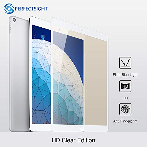 PERFECTSIGHT Screen Protector for iPad Air 3 10.5 inch 2019,55% Anti Blue Light Filter HD Clear Apple Pencile SupportTempered Glass [White] (Blue Light Filter Ipod Touch)