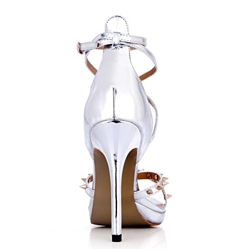 Best 4U® Sandali estivi da donna Specchi in PU Peep toe rivetti 12CM Tacchi alti Suola in gomma Scarpe con una fibbia Scarpe argento
