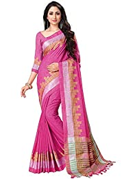 VintFlea Indian Womens Fashion Designer Linen Cotton Saree with Unstitched Blouse Piece for Special Occasions Wedding Party wear Pink