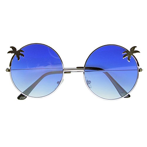 Indie soleil Tree Round Emblem Bleu Hippie Lunettes de Eyewear Gradient Palm SqwPgIx