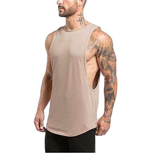MODOQO Men's Tank Tops Fitness Sleeveless Cotton O-Neck T-Shirt Gym Vest(Beige,L) by MODOQO (Image #2)