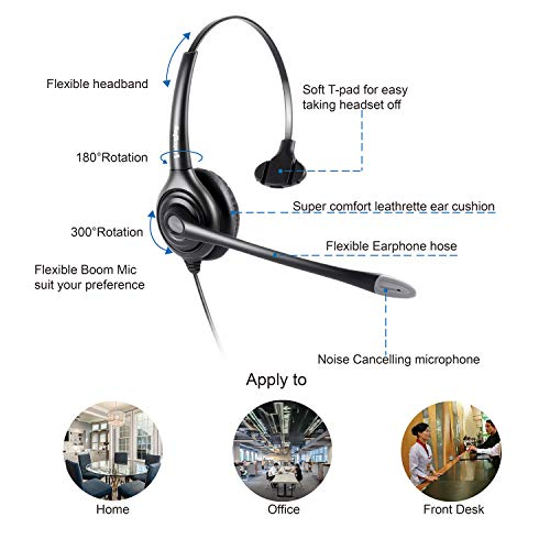 Monaural Headset with Microphone and Quick Disconnect, RJ9 Plug Only for  Cisco IP Phones 794X 796X 797X 69XX Series and