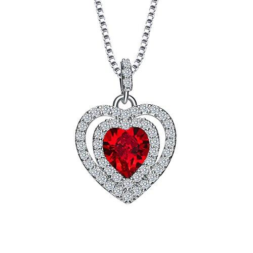 [Xingzou January Birthstone Necklace Pendant for Mom, Garnet Heart Crystal From Swarovski, Wedding Gift] (Garnet Swarovski Austrian Crystal)