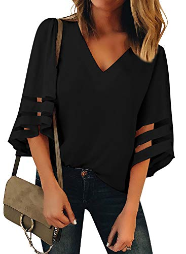 (Utyful Women's Black Casual V Neck Mesh Panel 3/4 Bell Sleeve Solid Loose Blouse Top Large)