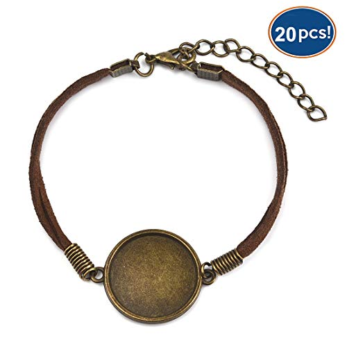 Woven Leather Bracelet Bangle Blank Base Fit 20mm Round Glass Cabochon Gems Setting Bezel Tray for Jewelry Making Pack of 20