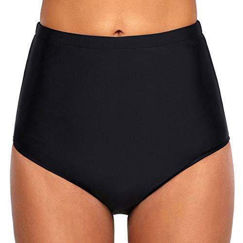 (yijiamaoyiyouxia swimwear Women's Bikini Bottom High Waisted Shirred Swim Triangle Briefs Hipster UPF 50+ Swimsuit Shorts (Black,S))