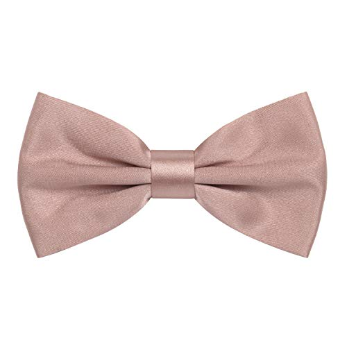 Satin Classic Pre-Tied Bow Tie Formal Solid Tuxedo, by Bow Tie House (Large, Powder Peach)