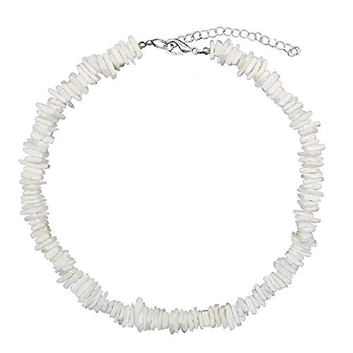 HENGSHENG Hawaiian Beach Necklace Natural Puka Chip Tropical Shell Summer Choker Necklace for Men Women 17''